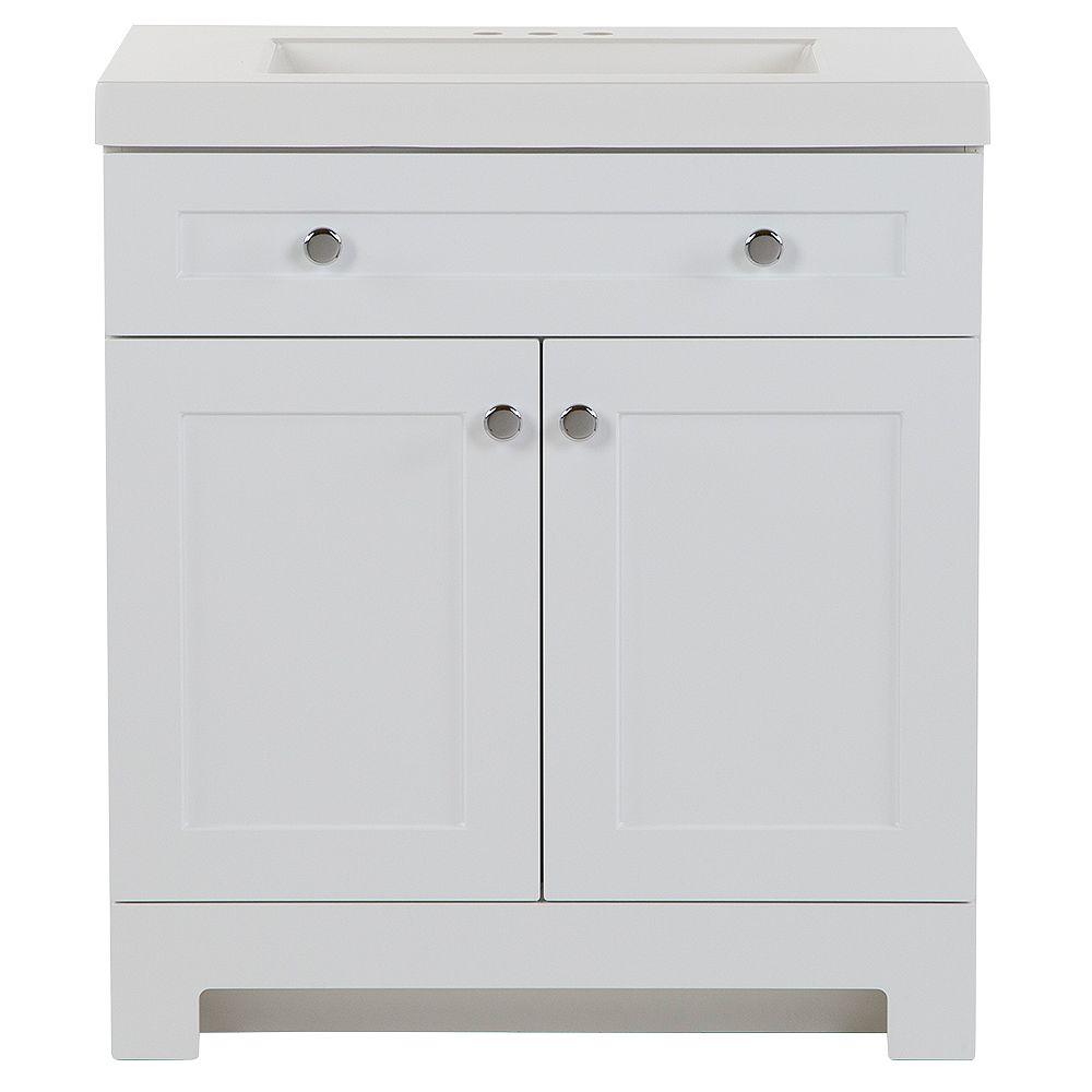 Glacier Bay Everdean 30.5-inch W x 19-inch D x 34-inch H Bath Vanity in White with Vanity Top in White