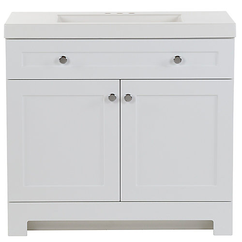 Everdean 36.5 inch W x 19 inch D x 34 inch H Bath Vanity in White with Vanity Top in White