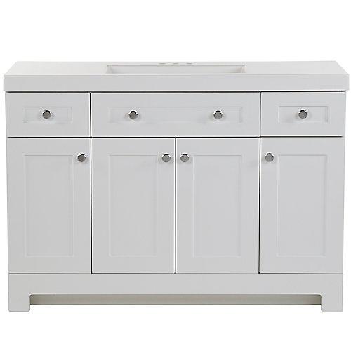 Everdean 48.5 inch W x 18.75 inch D Vanity in White Vanity Top in White with Vanity Top in White