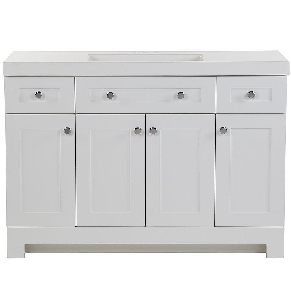 Glacier Bay Everdean 48.5-inch W x 18.75-inch D Vanity in White Vanity Top in White with Vanity Top in White