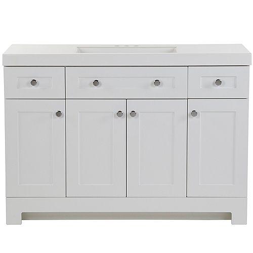 Everdean 48.5-inch W x 18.75-inch D Vanity in White Vanity Top in White with Vanity Top in White
