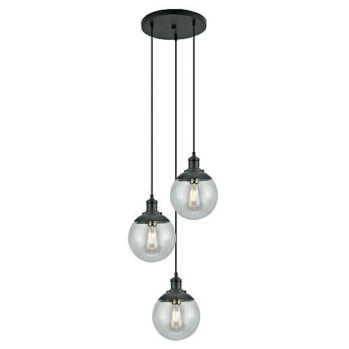 Luminaire suspendu étagé à 3 ampoules avec globes en verre, collection Libertad, fini bronze foncé