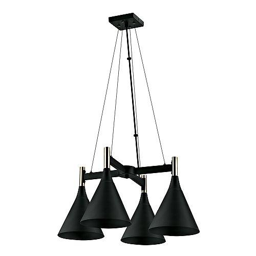 Lustre à 4 ampoules, collection Loreto, fini bronze foncé avec accents en laiton de style antique