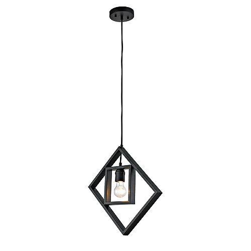 Luminaire suspendu à une ampoule exposée avec un cadre géométrique, collection Tamarindo, fini noir