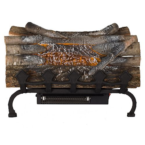 Electric Crackling Log w/Grate and Heater
