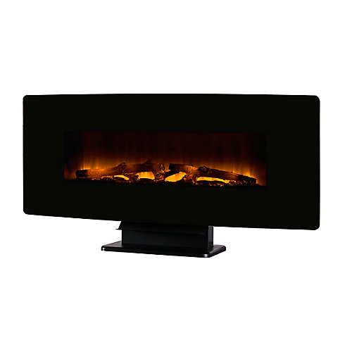 """42"""" Curved Wall Mount Electric Fireplace - Black Glass"""