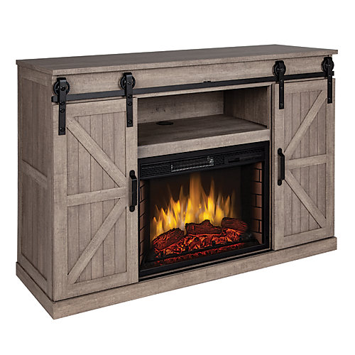 """Montgomery 48"""" Infrared Media Electric Fireplace -Barnboard Gray (Club)"""
