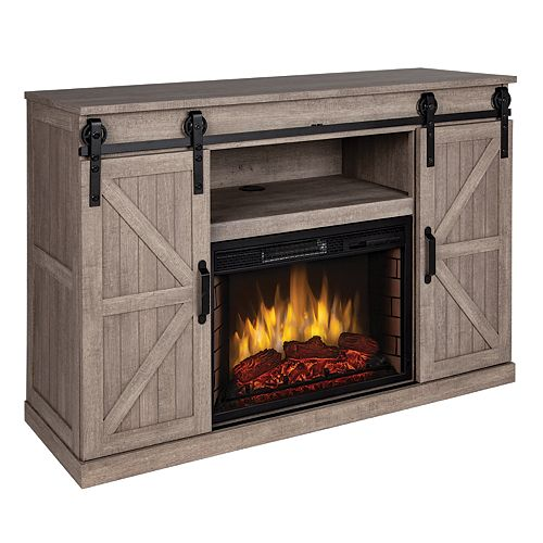 Columbia 48 in. Infrared Media Electric Fireplace in Barnboard Gray