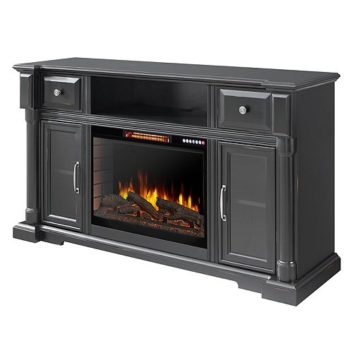 """Vermont 60"""" Media Electric Fireplace with Bluetooth - Aged Black Finish"""