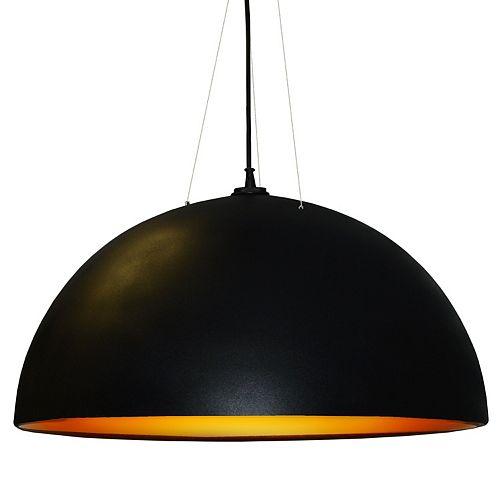 Pendentif 3 ampoules, fini noir et or