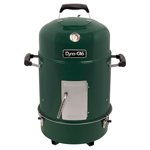 Compact Charcoal Bullet Smoker and Grill in High Gloss Forest Green