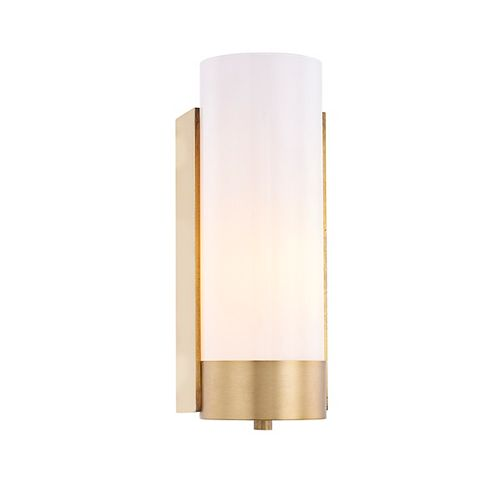 Glass Cylinder 1 Lt Wall Sconce Industrial Gold