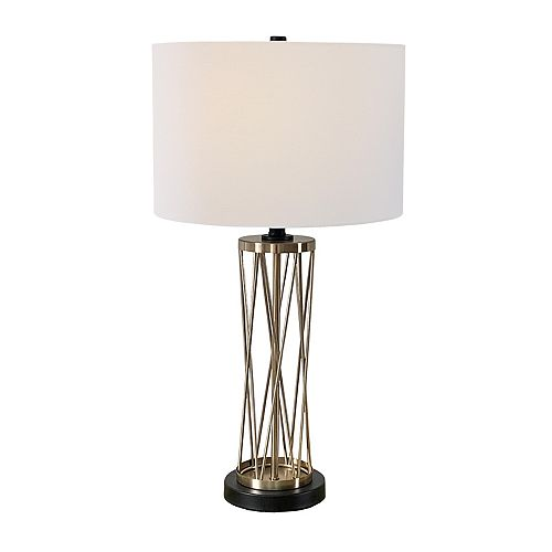 """L2 Lighting 28"""" Champagne and Black Table Lamp"""