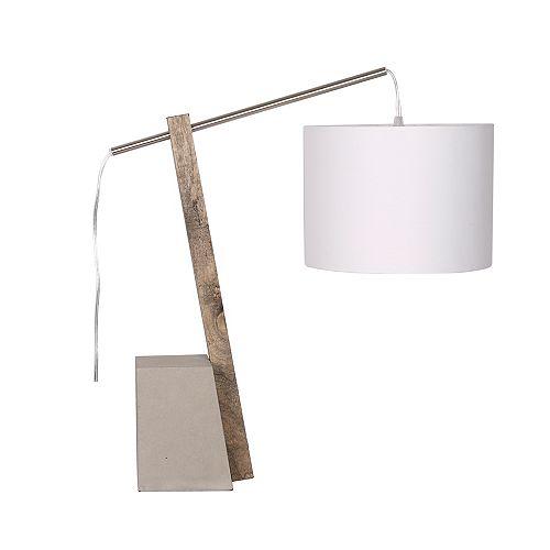 Lampe de Table en Arc 21,5'' Bois/Ciment