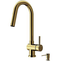 Gramercy Single-Handle Pull-Down Kitchen Faucet with Soap Dispenser in Matte Gold
