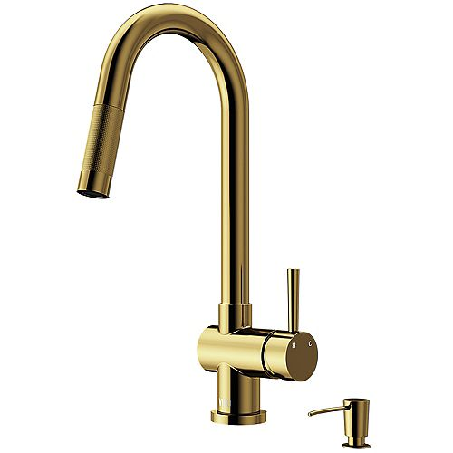 VIGO Gramercy Single-Handle Pull-Down Sprayer Kitchen Faucet with Soap Dispenser in Matte Gold