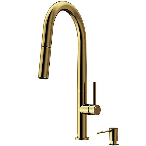 Greenwich Single-Handle Pull-Down Sprayer Kitchen Faucet with Soap Dispenser in Matte Gold