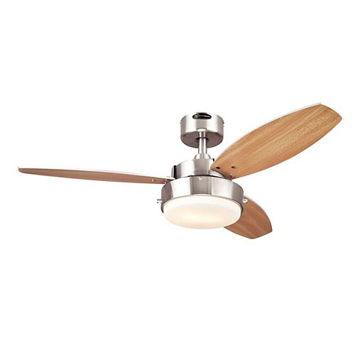 Alloy 42-inch Reversible 3-Blade Integrated LED Ceiling Fan in Brushed Nickel Finish