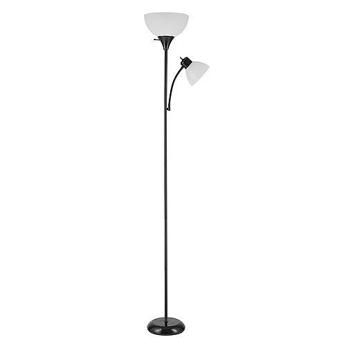 Lampe torchère sur pied de collection Delilah de 72 po + lumière de lecture ajustable en noir mat