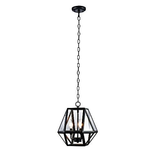 Viana Collection 3-Light Contemporary Outdoor Pendant, Black Finish