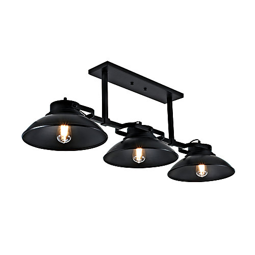 Seascape Collection 3-Light Contemporary Barnyard Outdoor Chandelier, Black Finish