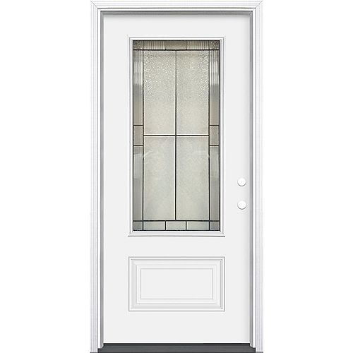 Masonite 34-inch x 80-inch x 6-9/16-inch Antique Black 3/4 Lite Left Hand Exterior Pre hung Door
