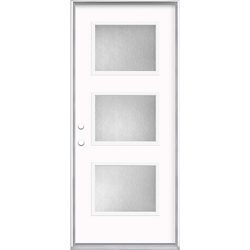 Masonite 36-inch x 80-inch x 4-9/16-inch 3 Lite Equal Right Hand Exterior Pre hung Door