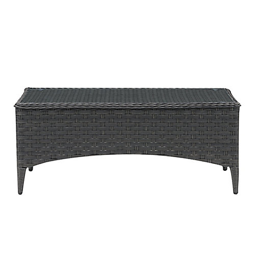 CorLiving Rattan Wicker Rectangle Patio Coffee Table with Glass Table Top, Distressed Charcoal Grey