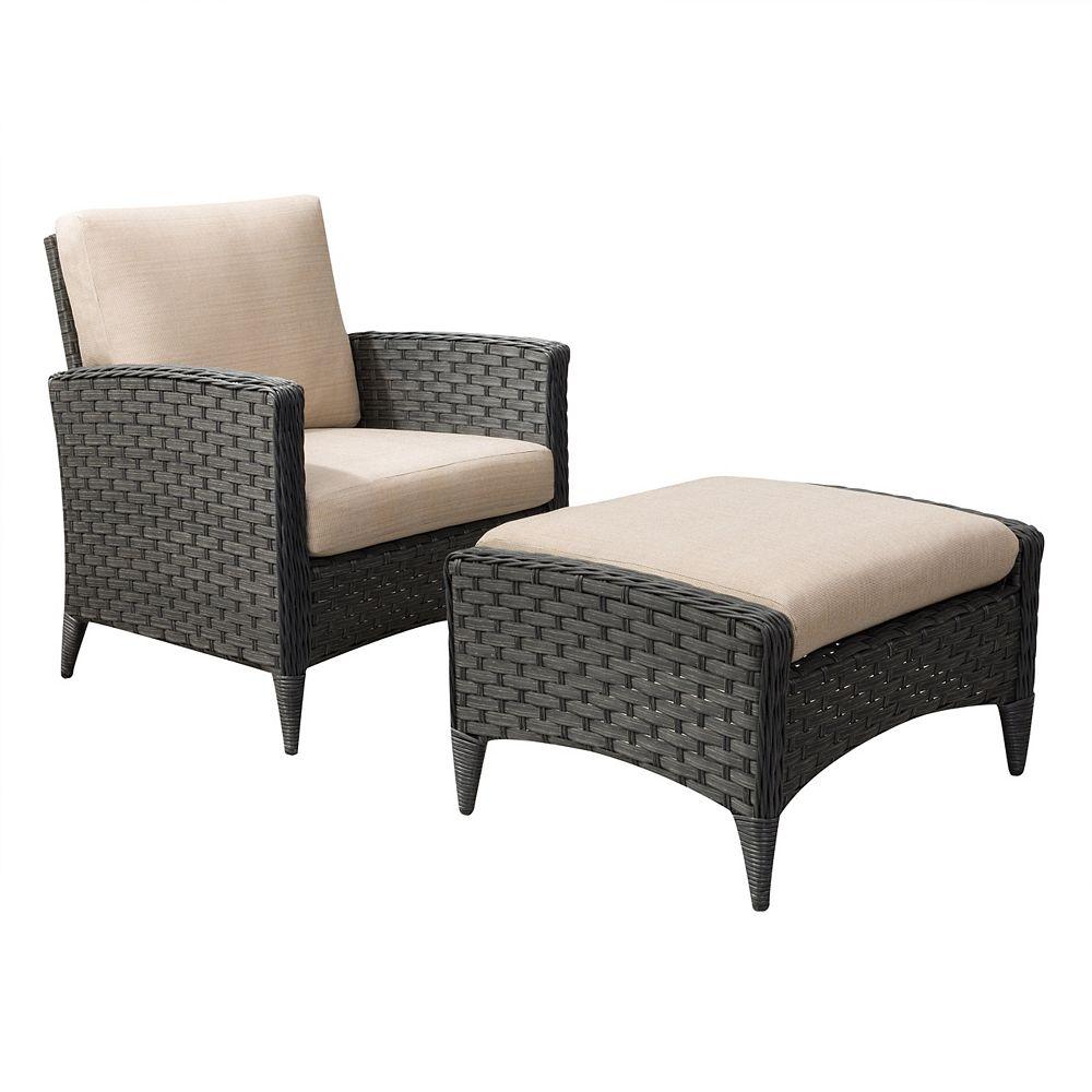 Corliving Ensemble 2 pièces fauteuil et repose-pieds de patio, couleur charbon délavé avec coussins beige