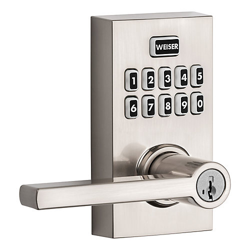 Electronic Residential  Contemporary Lever in Satin Nicel