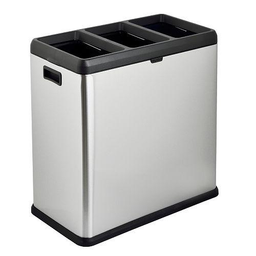 Poubelle et bac de recyclage The Step N 'Sort 60L à compartiment ouvert à 3 compartiments