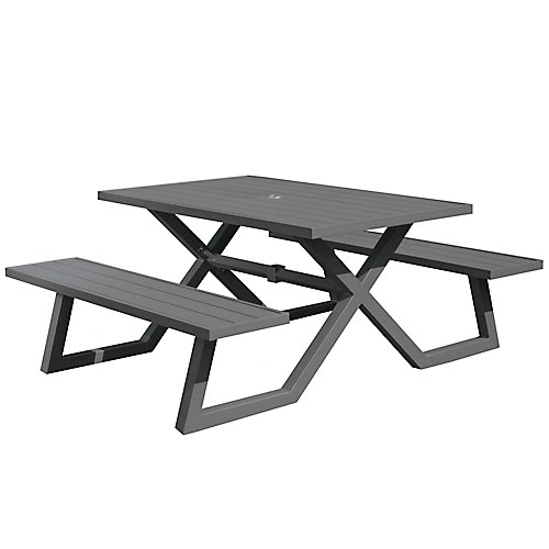 5ft Aluminum Picnic Table, Charcoal