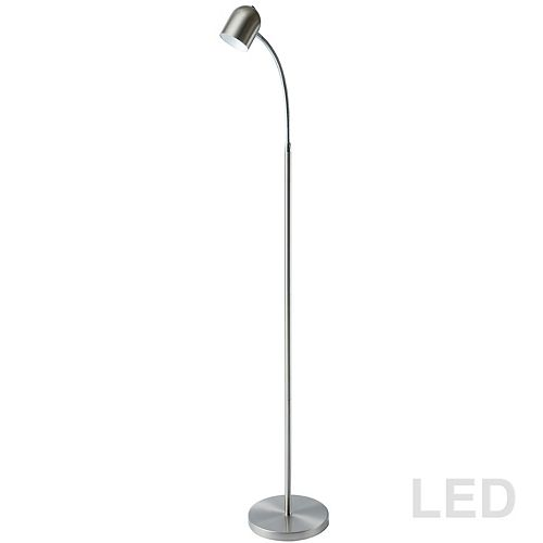 Lampadaire DEL 5 Watt, fini chrome satiné