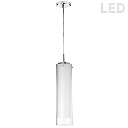 Dainolite 14.5W LED Pendant Polished Chrome Finish with White and Clear Glass