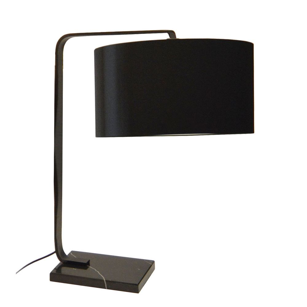 Dainolite Lampe de table à incandescence à 1 lumière, fini noir