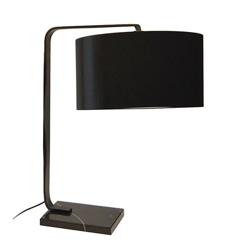Lampe de table à incandescence à 1 lumière, fini noir