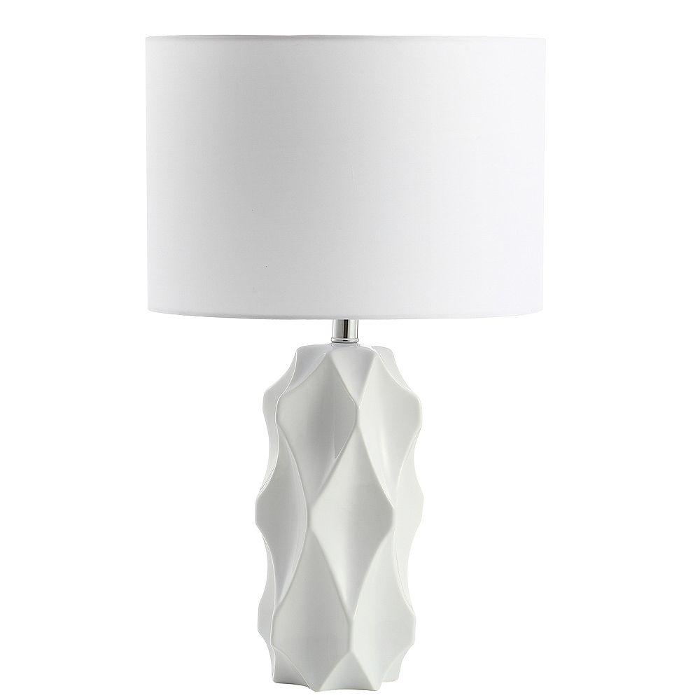 Dainolite Lampe de table à 1 ampoule à incandescence blanc mat avec abat-jour blanc