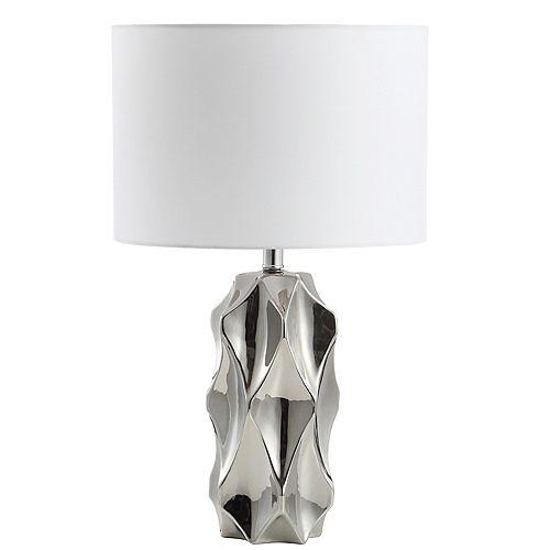 Lampe de table à 1 lumière à incandescence chrome poli avec abat-jour blanc