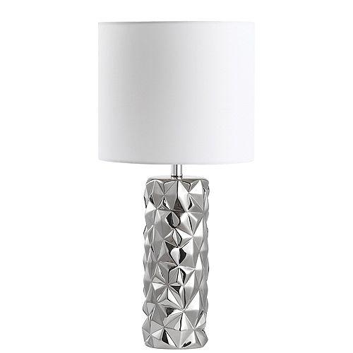 Lampe de table à 1 lumière à incandescence au fini chrome poli avec abat-jour blanc