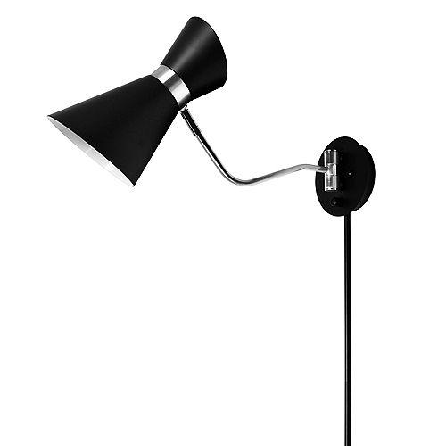 1 Light Swing Arm Lamp, Black/Polished Chrome Finish