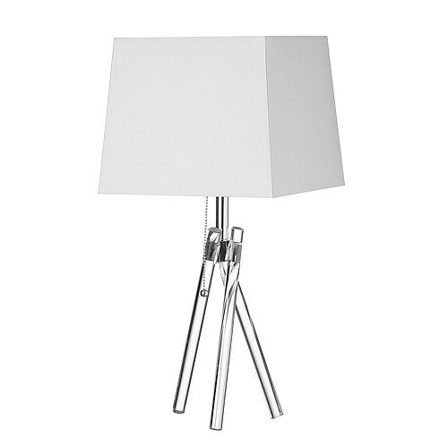 Lampe de table à 1 lumière à incandescence, pieds en acrylique avec abat-jour blanc