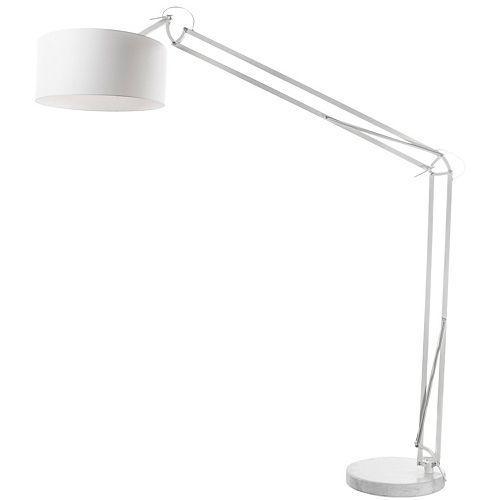 Lampadaire réglable à 1 lumière à incandescence, fini blanc