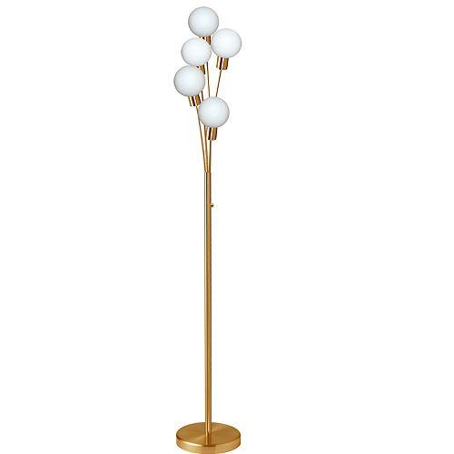 Lampadaire à 5 ampoules à incandescence au fini laiton vieilli avec verre blanc