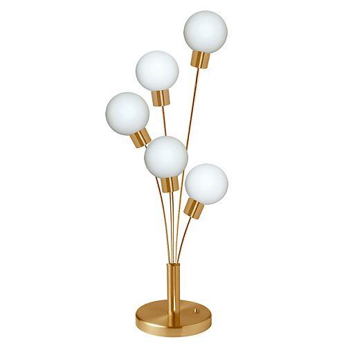 Lampe de table à 5 ampoules au fini laiton vieilli avec verre blanc