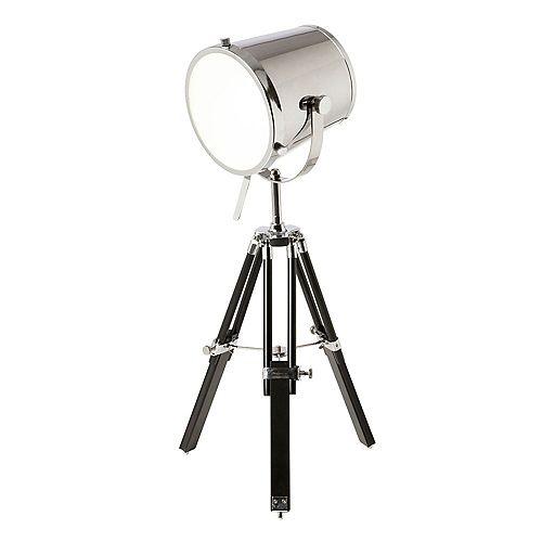 Lampe de table trépied Spotlight, chrome / bois noir