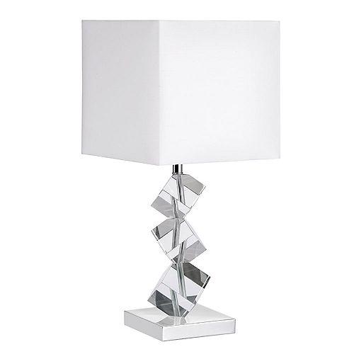 Dainolite Lampe de table avec cubes en cristal, chrome poli, abat-jour en lin blanc