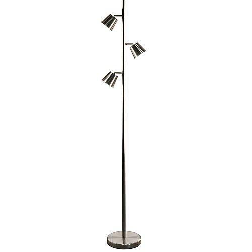 3 Light LED Floor Lamp, Satin Chrome Finish
