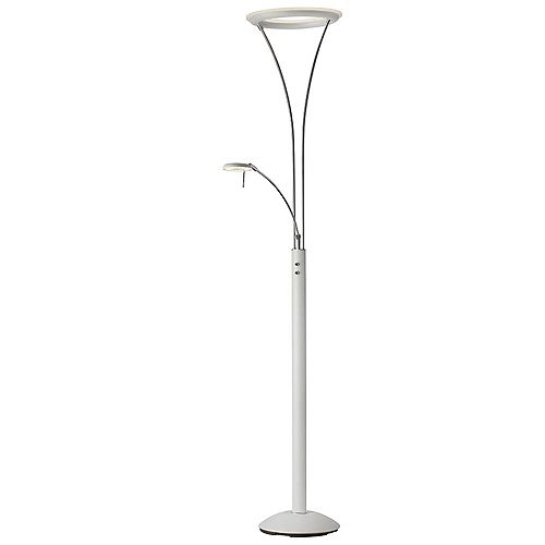 Lampadaire DEL Mother & Son, blanc et chrome