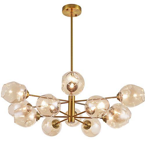 Luminaire suspendu à 12 ampoules au fini bronze antique avec verre fumé