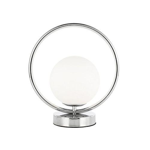 Lampe de table à 1 ampoule halogène au fini chrome poli avec verre blanc